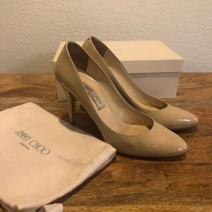 Jimmy Choo patent nude leather pumps size 41